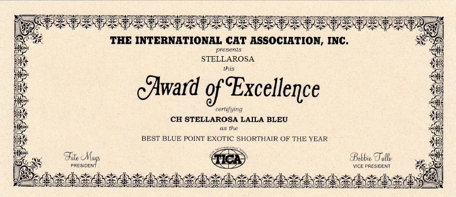 Tica Award Of Excellence